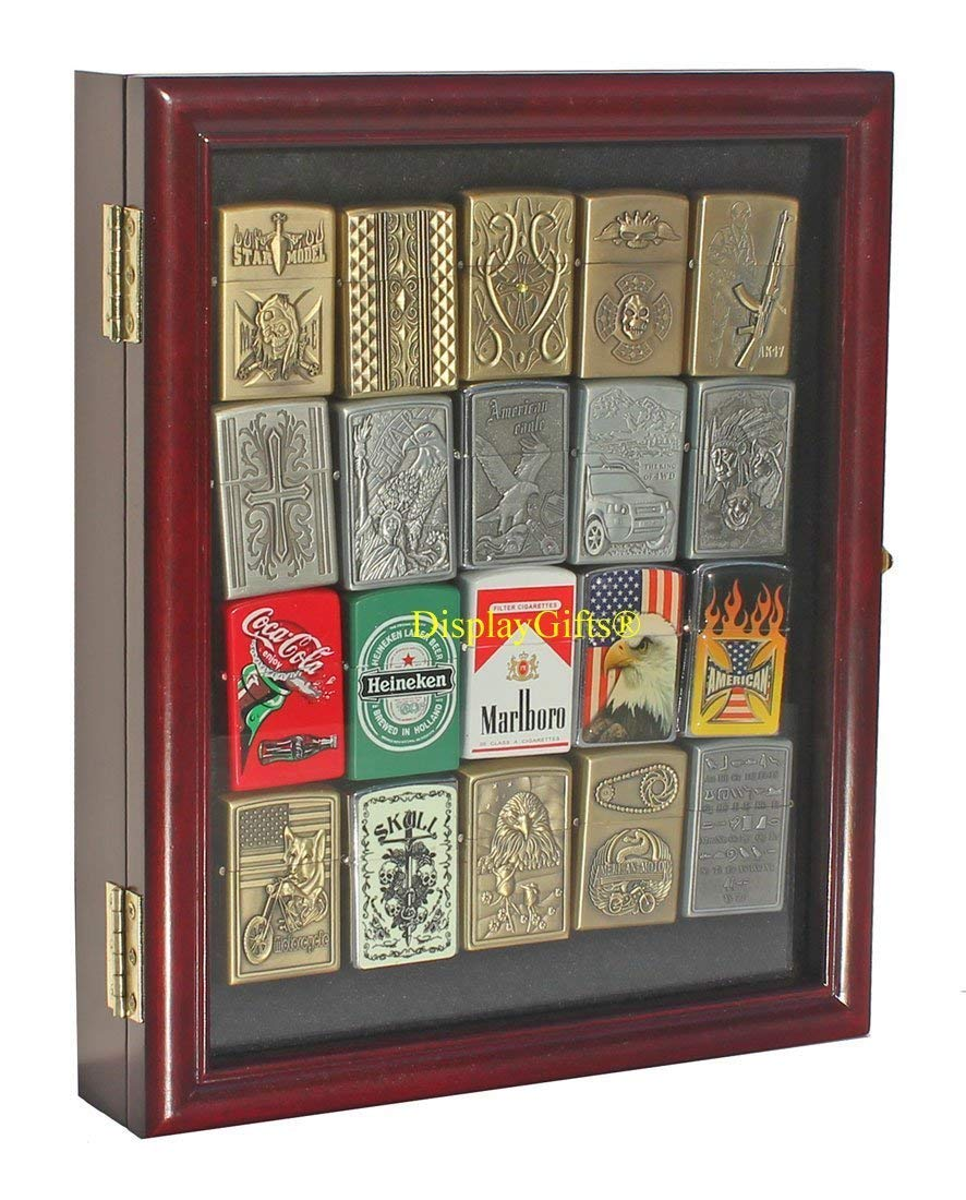 OKSLO Small display case wall cabinet for collectilbe cigarette lighters lckc02 (cherr by OKSLO (Image #1)