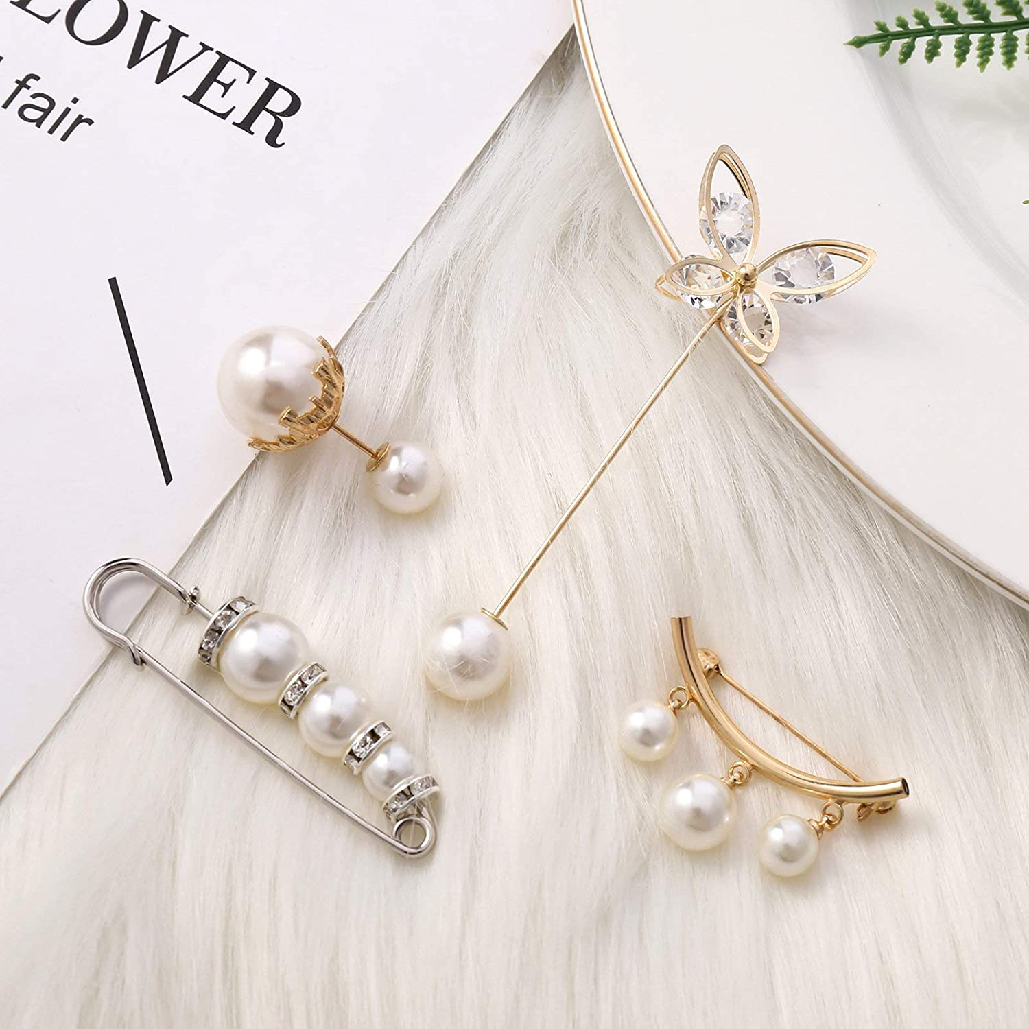 Vintage Sweater/Cardigan Clip fashion Shirts Pearl Brooch Safety Pin Jewelry Set for Women Girls Costume Accessory picidae 8Pcs Pearl Brooch Pin Set