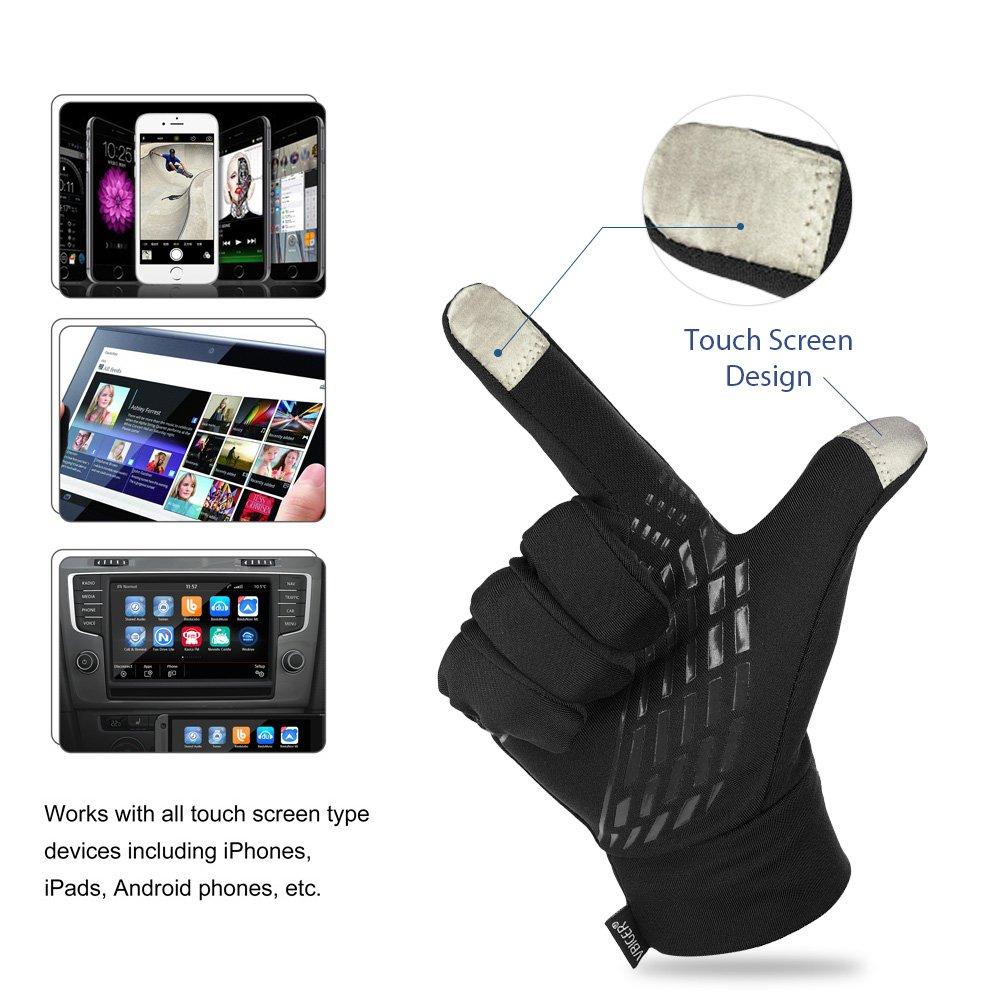 Vbiger Outdoor Touchscreen Handschuhe fahren Radfahren warm Freizeit Sport Silikon rutschfeste Handschuhe, Schwarz, XL