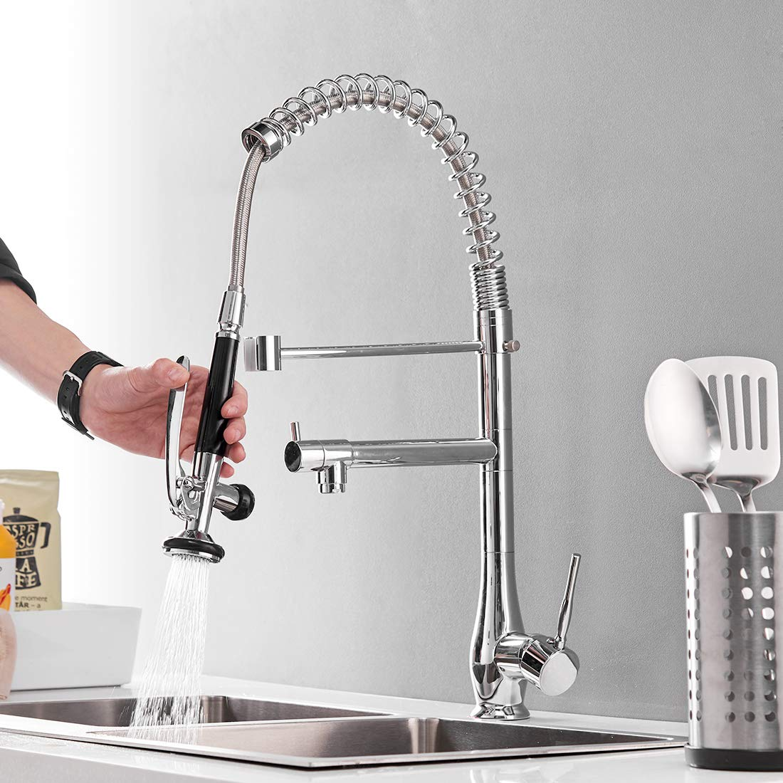 Commercial Pull Down Kitchen Faucet with Sprayer,GIMILI High Arch Single Hole Single Handle Kitchen Sink Faucet,Chrome