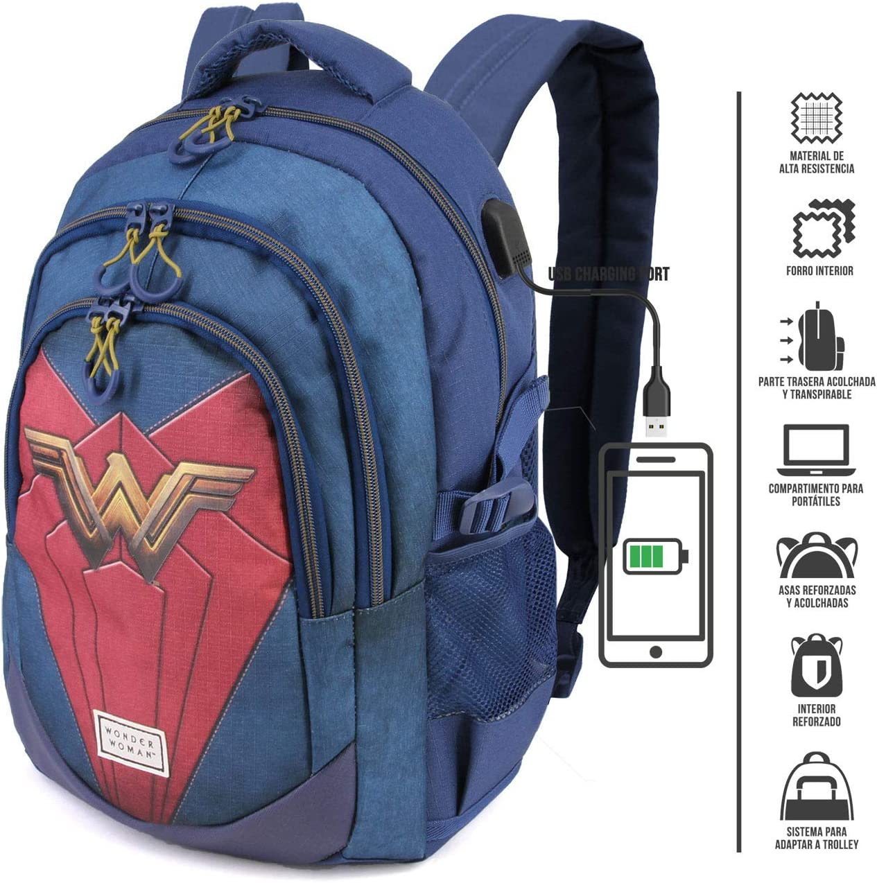 21 liters Karactermania Wonder Woman Emblem-zaino Running HS Sac /à Dos Loisir Multicolore Multicolour 44 cm