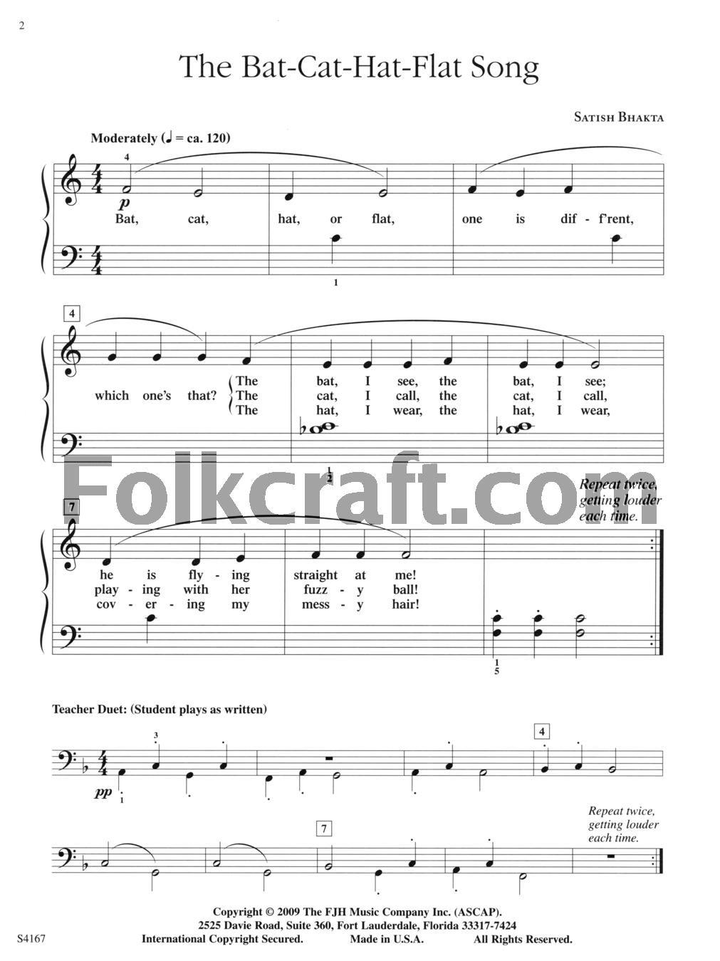 06b16f97 Satish Bhakta - The Bat-Cat-Hat-Flat Song: 0674398225279: Amazon.com:  Musical Instruments