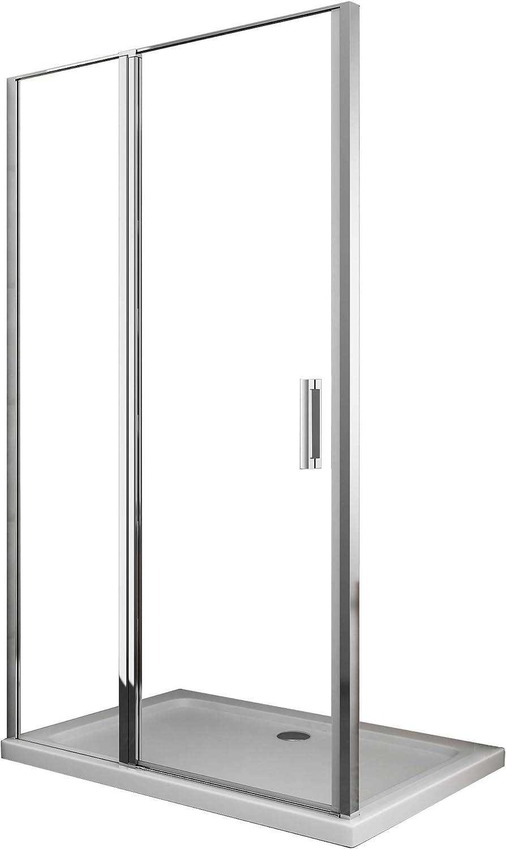 Laneri - Mampara de ducha con cristal fijo y puerta batiente, antical, 137 x 140 cm