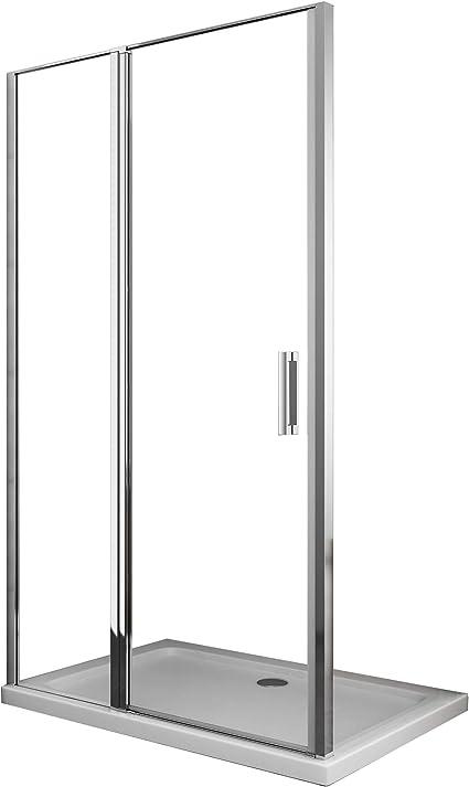 Laneri - Mampara de ducha con cristal fijo y puerta batiente, antical, 117 x 120 cm: Amazon.es: Bricolaje y herramientas