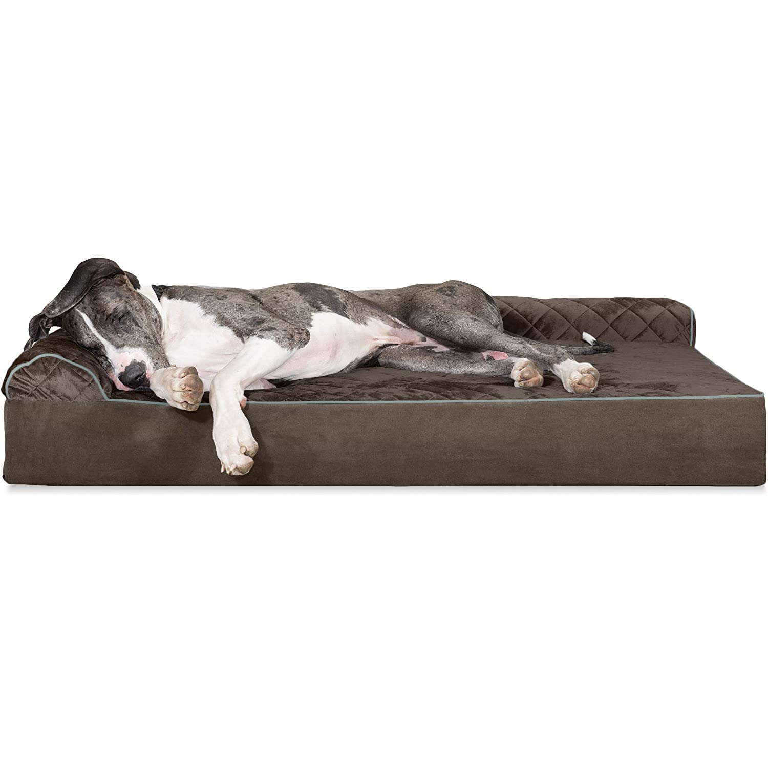 Espresso 4XL Espresso 4XL FurHaven Pet Dog Bed   Deluxe Orthopedic Goliath Quilted L-Chaise Couch Pet Bed for Dogs & Cats, Espresso, 4XL
