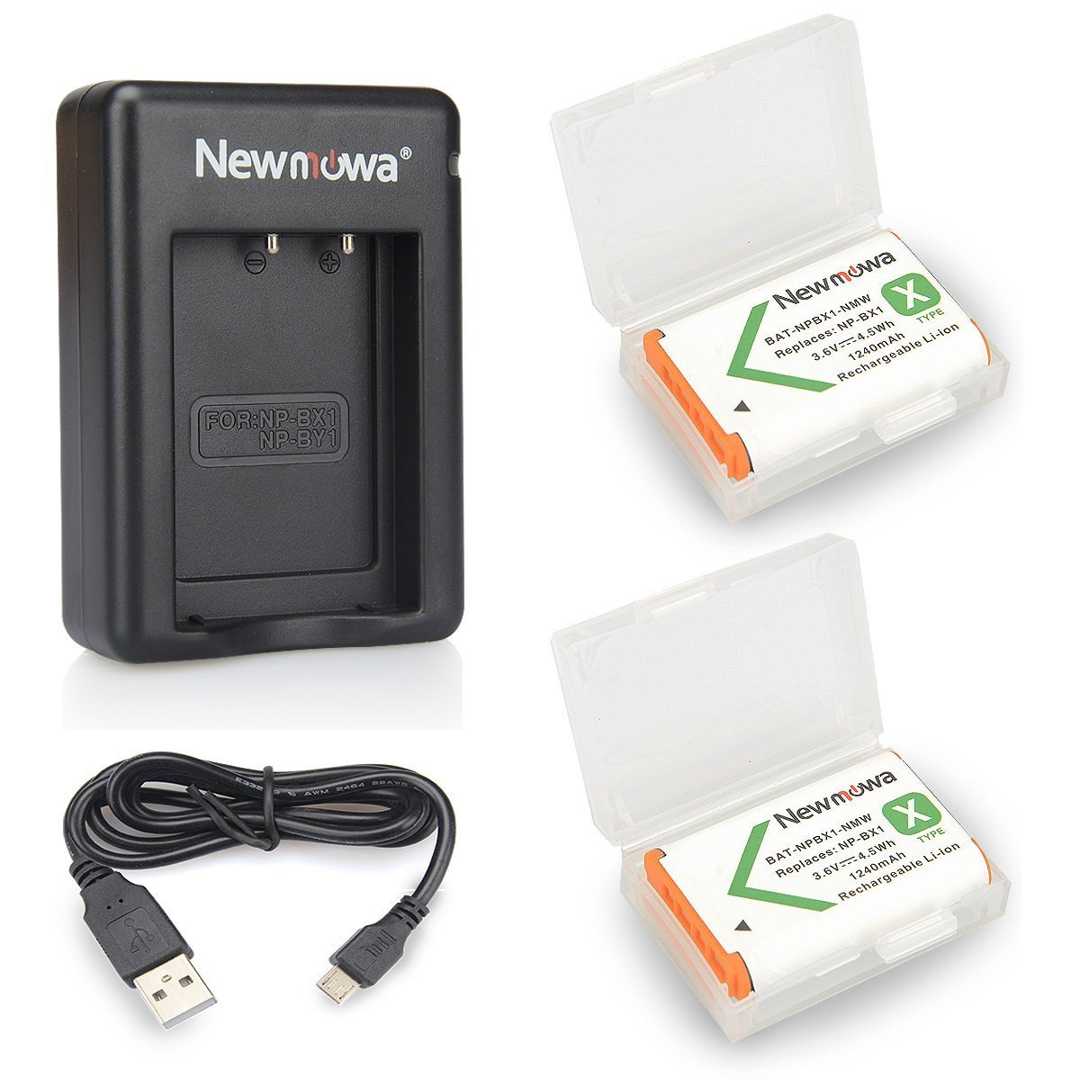 NP-BX1 Newmowa Replacement Battery (2-Pack) and Dual USB Charger Set for Sony NP-BX1/M8 and Sony Cyber-Shot DSC-RX100,DSC-RX100 II,DSC-RX100M II,DSC-RX100 III,DSC-RX100 IV,DSC-RX100 V,DSC-RX100 VII by Newmowa
