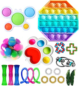 Fidget Toy Packs Cheap Fidget Box with Simples Dimples Pop Bubble DNA Stress Relive Balls for Kids Adults ADHD ADD Anxiety Autism (A Set)
