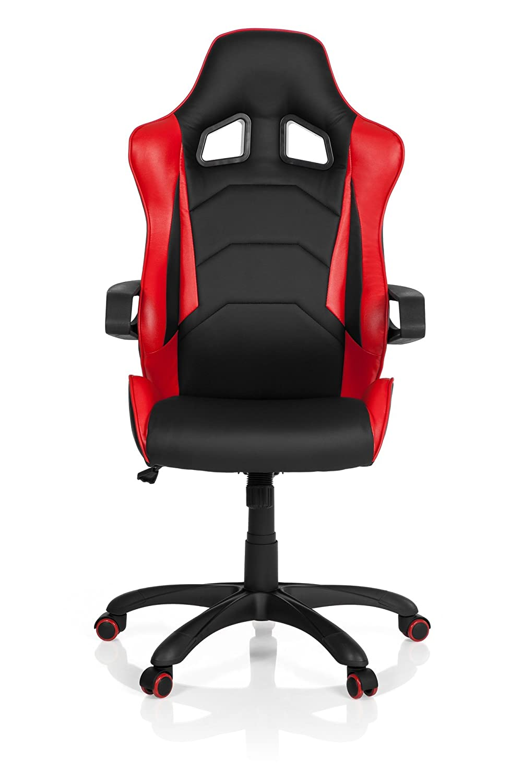 hjh OFFICE Racer Pro I Sillón de Oficina, Piel Sintética, Negro y Rojo, 50.00x57.00x138.00 cm: Amazon.es: Hogar