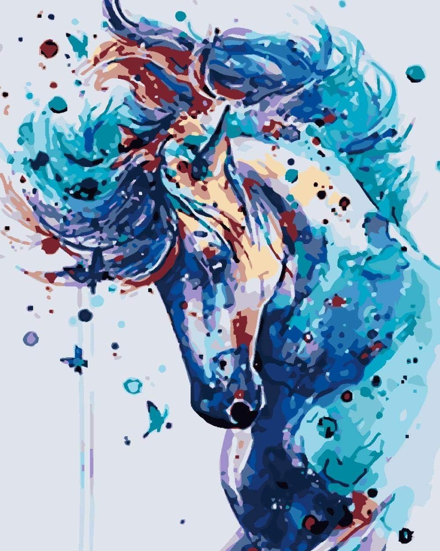 Pintar por Numeros Kits para Adultos Niños Dibujado a mano caballo mariposa DIY Pintura al óleo con Pinceles y Pinturas Decoraciones para el Hogar - 40x50cm Sin Marco