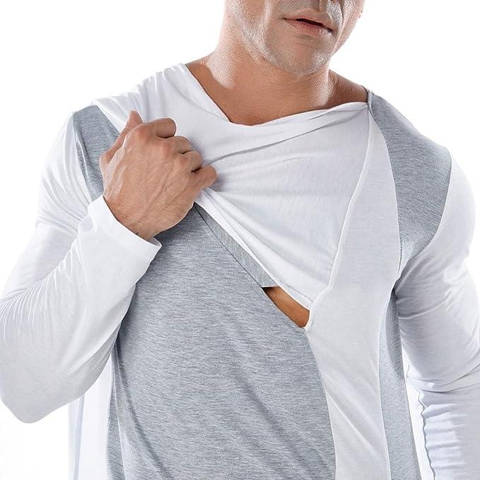 Resplend Camiseta de Manga Larga con Cuello Alto de Patchwork Casual para Hombre Camiseta de Manga