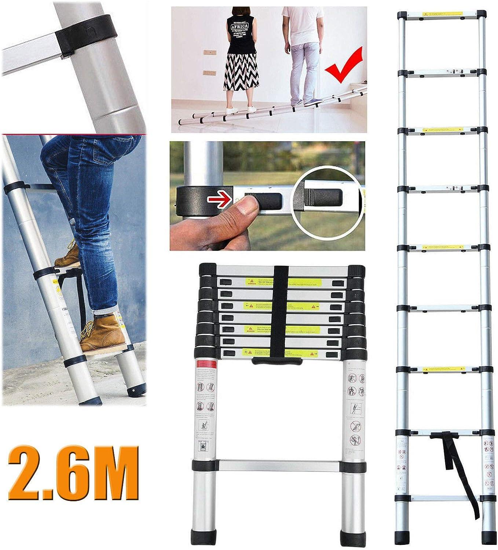 Escalera telescópica de aluminio multiusos de 2,6 m, plegable, extensible, 150 kg de carga máxima: Amazon.es: Bricolaje y herramientas