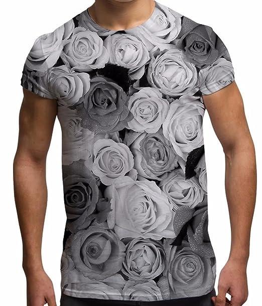 Camisetas Totalmente Impresas Por Sublimación Para Hombre Con Rosas