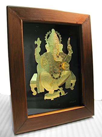 ganesh elephant hindu god new beginning protection remove obstacle 24k gold foil picture frame