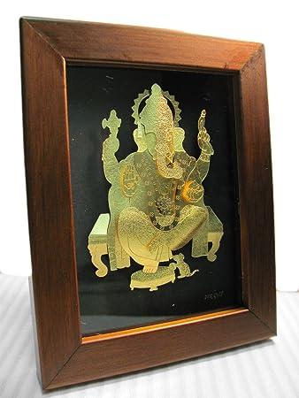 ganesh elephant hindu god new beginning protection remove obstacle 24k gold foil picture frame