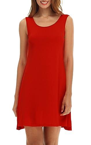 POSESHE Women's Sleeveless Casual Loose T-Shirt Dress