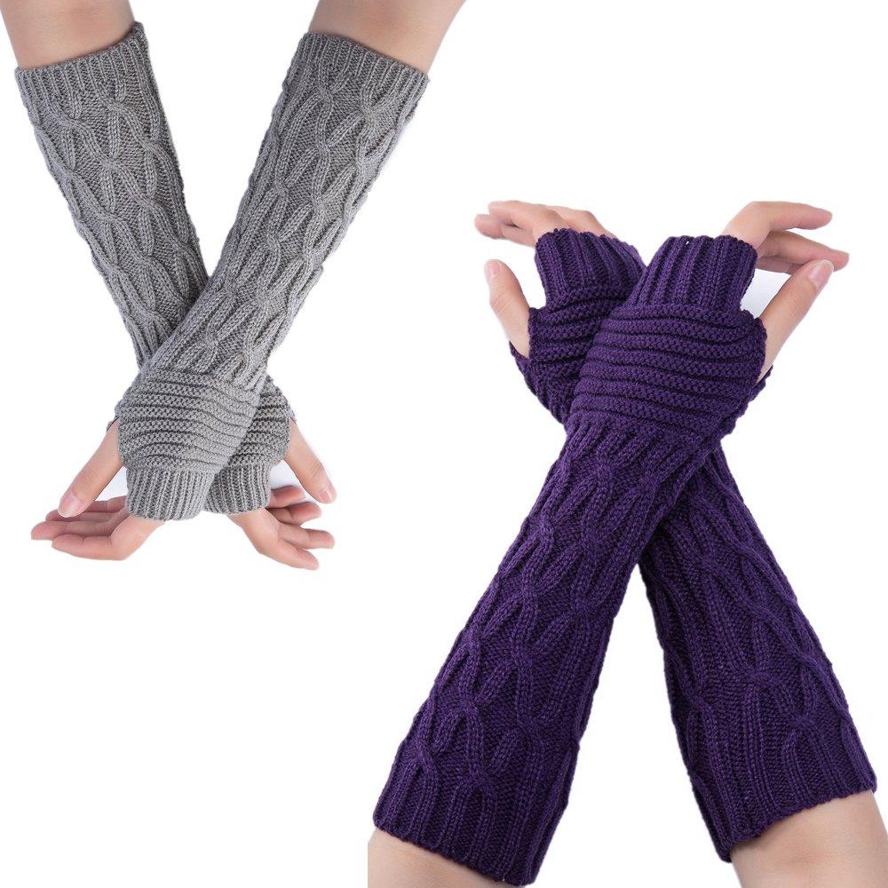 Flyou 2Pairs Womens Length Arm Warmer Gloves Fingerless Knit Gloves Mitten