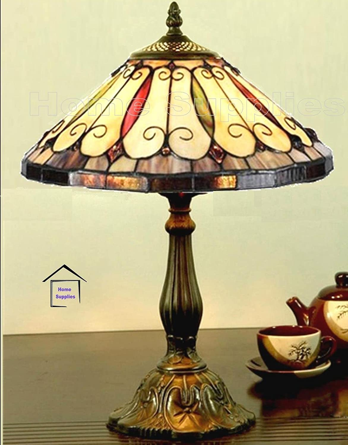 Felice tiffany style stained glass table lamp amazon co uk lighting