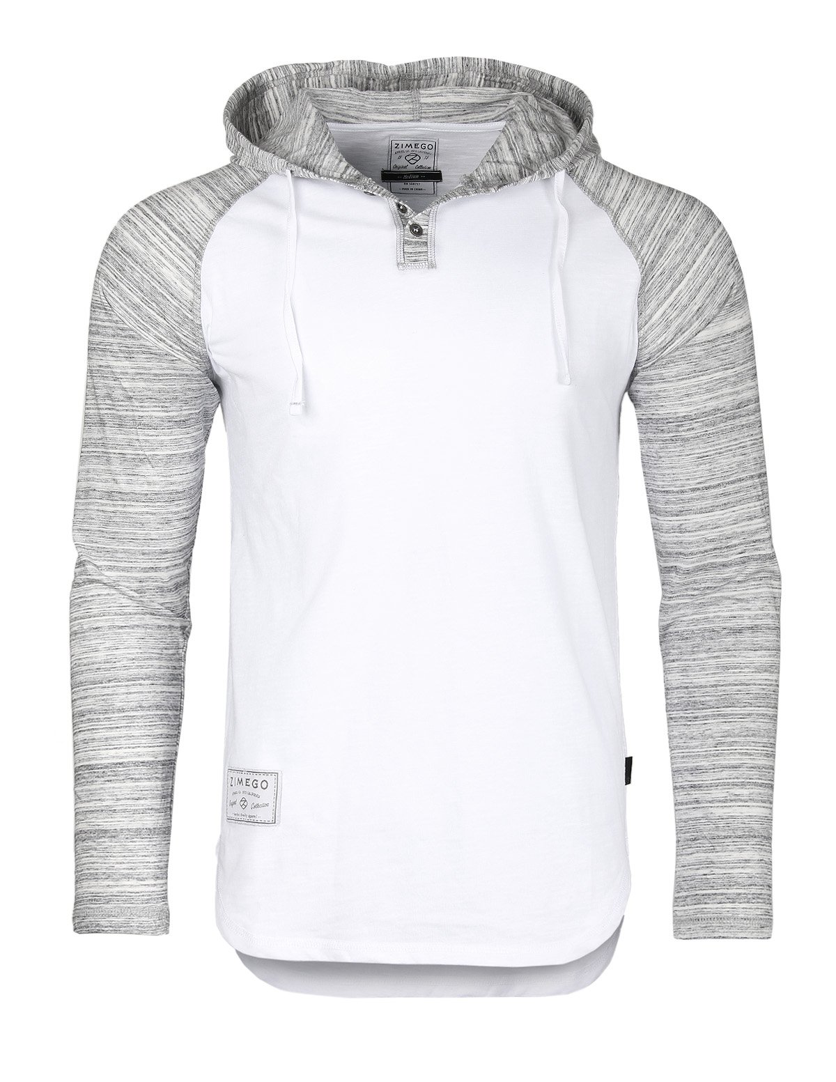 ZIMEGO Long Sleeve Raglan Henley Hoodie Round Bottom Semi Longline T-Shirt (Small, ZFLS140H White Fulfilled by Merchant)