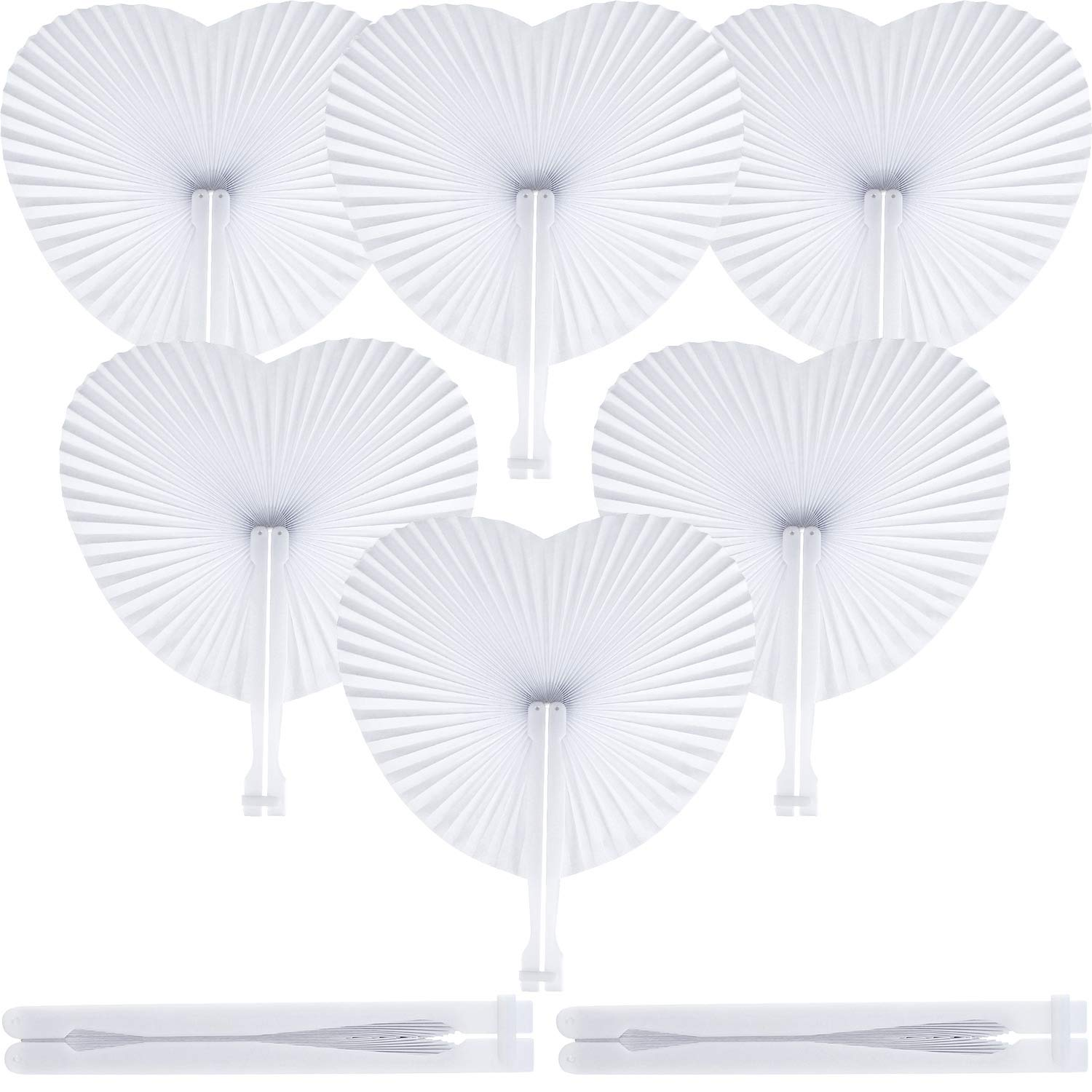 48 Pack Handheld Heart Shaped Paper Fans Folding Accordion Fans Assortment for Summer Outdoor Beach Wedding Party Bag Filler Birthday Favors Decoration Gejoy