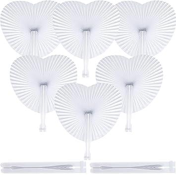 48 Piezas de Abanicos de Papel en Forma de Corazón de Mano ...