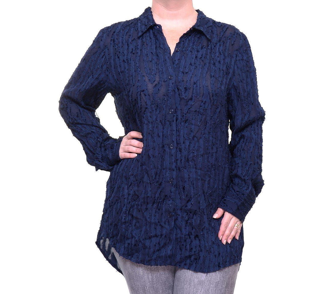 Catherine Malandrino Women's Large Button Down Shirt Blue MC600827