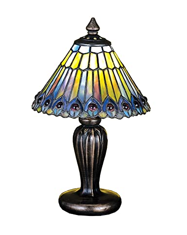 Tiffany Jeweled Peacock Mini Table Lamp