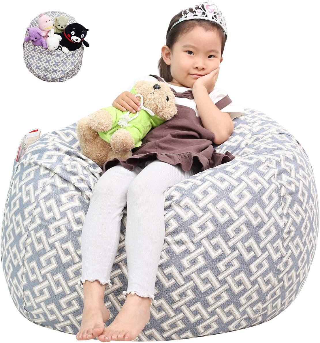 |Toy Storage Bag| Toddlers and Teens Great Eagle Stuffed Animal Storage Bean Bag Chair Cover|38 Extra Large Cotton Canvas Bean Bag Chair for Kids Boys or Girls Beige//Cactuses