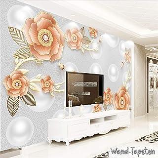 WTD Papel pintado pared papel pintado pared Imágenes 3d Relief Rose Perla Joyas KN de 3727 KN-COLLECTION