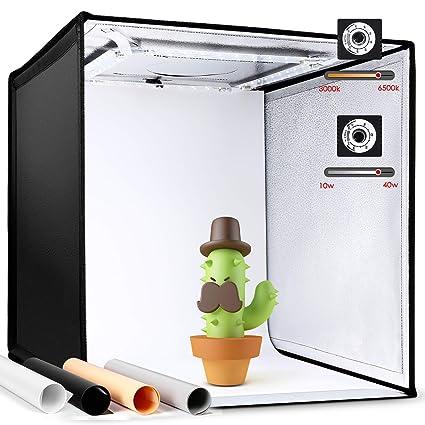 Amzdeal Photo Studio Portable,Tente Lumineuse Réglable 3000K-6500K avec 4 Bandes LED Dimmable 4000LM, Boîte de Lumière Pliable 50cm avec 4 Fonds (Bleu, Blanc, Noir, Orange) et Sac de Transport, CRI 90