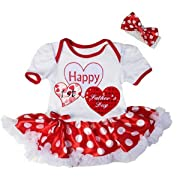 Kirei Sui Baby Happy 1st Father's Day Heart Red Polka Dots Sleeves Bodysuit Tutu Medium White
