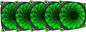 APEVIA 512L-DGN 120mm Silent Black Case Fan with 15 x Green LEDs & 8 x Anti-Vibration Rubber Pads (5 Pk)