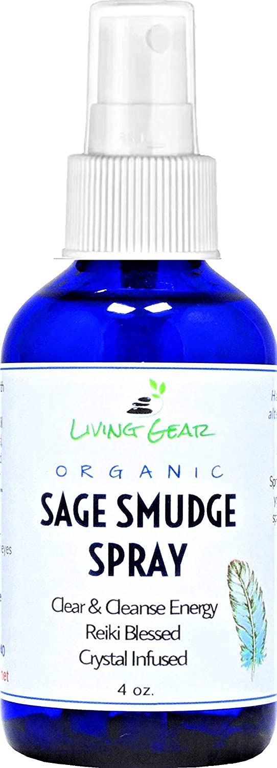 White Sage Smudge Spray to Clear & Purify Energy - Smokeless, Mess-Free Smudging - USDA Organic - Crystal Infused