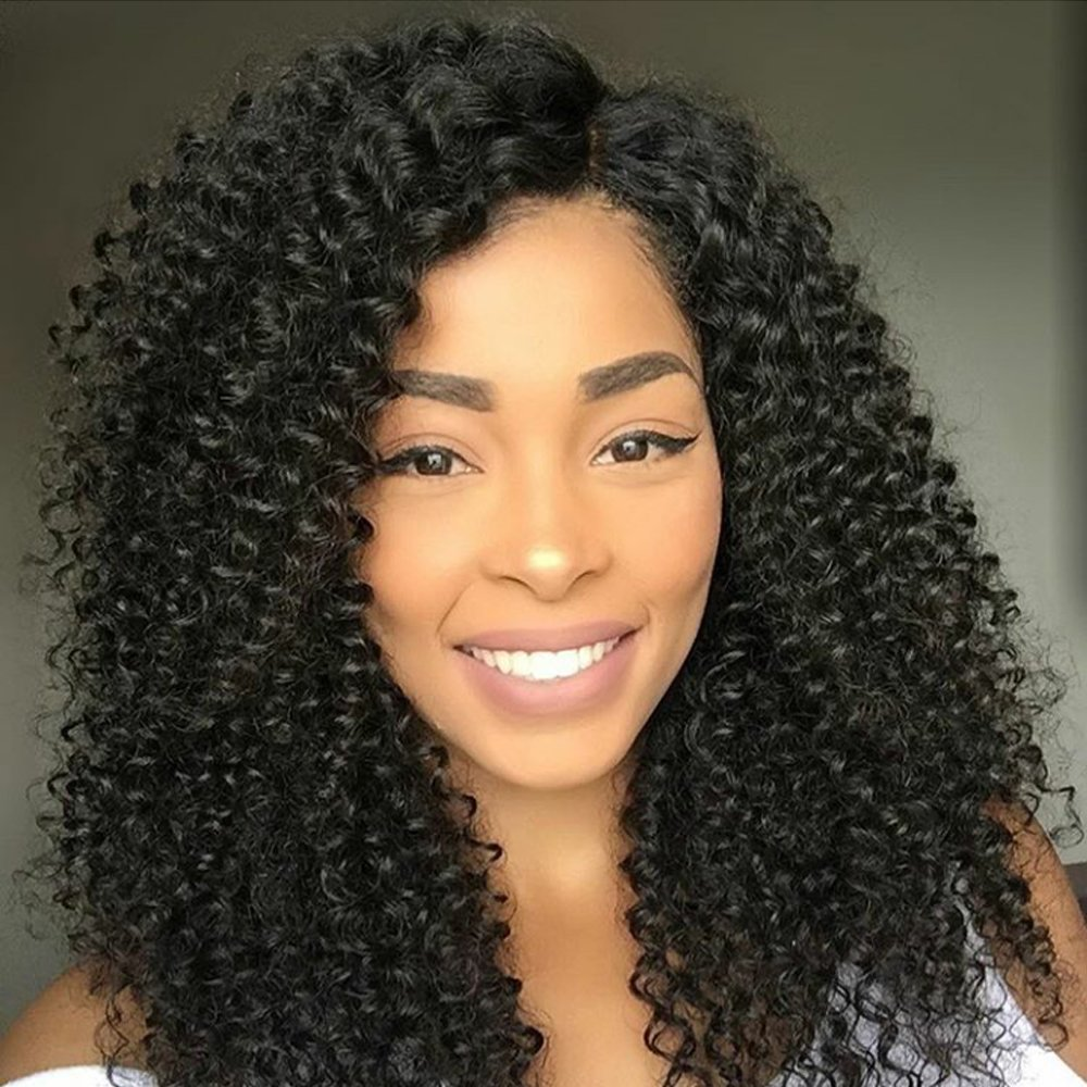 1# Jet Black Long Deep Wave Curly Human Hair Full Lace Wigs for Women with Baby Hair Bleached Knots Pre Plucket Hairline (10inch, Lace Front Wig) 71VDE3M9pKL