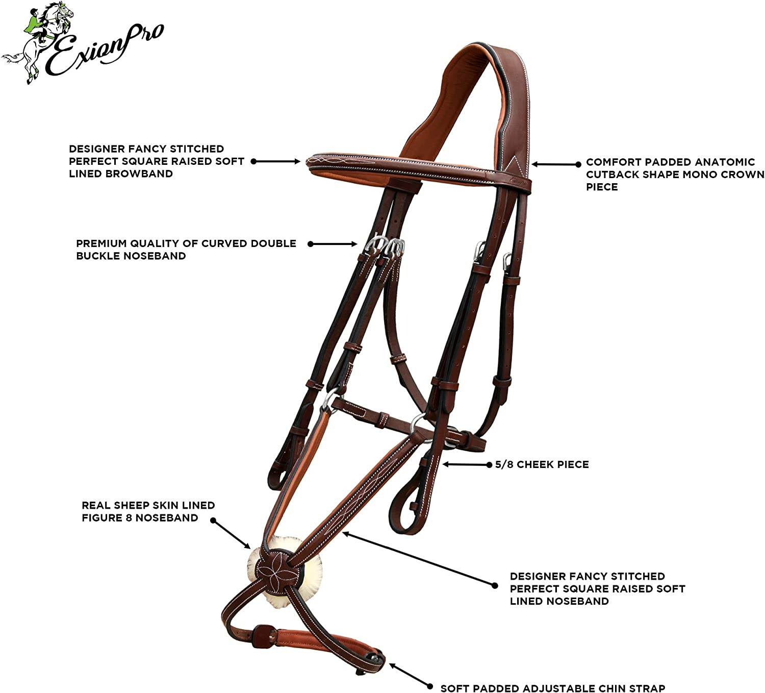 ExionPro Designer Fancy Stitched Square Raised Figure 8 Noseband Mono Crown piece Soft Lined English Bridle /& Rubber Rein For Horses English Bridle Figure Eight bridles for horse Figure 8 Bridle