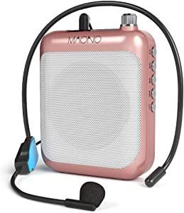 Voice Amplifier MAONO Portable Rechargeable Mini Speaker with Wired Microphone Headset and Waistband, Support FM MP3 TF Card for Teachers, Coaches, Tour Guide, Classroom, Outdoors, C01