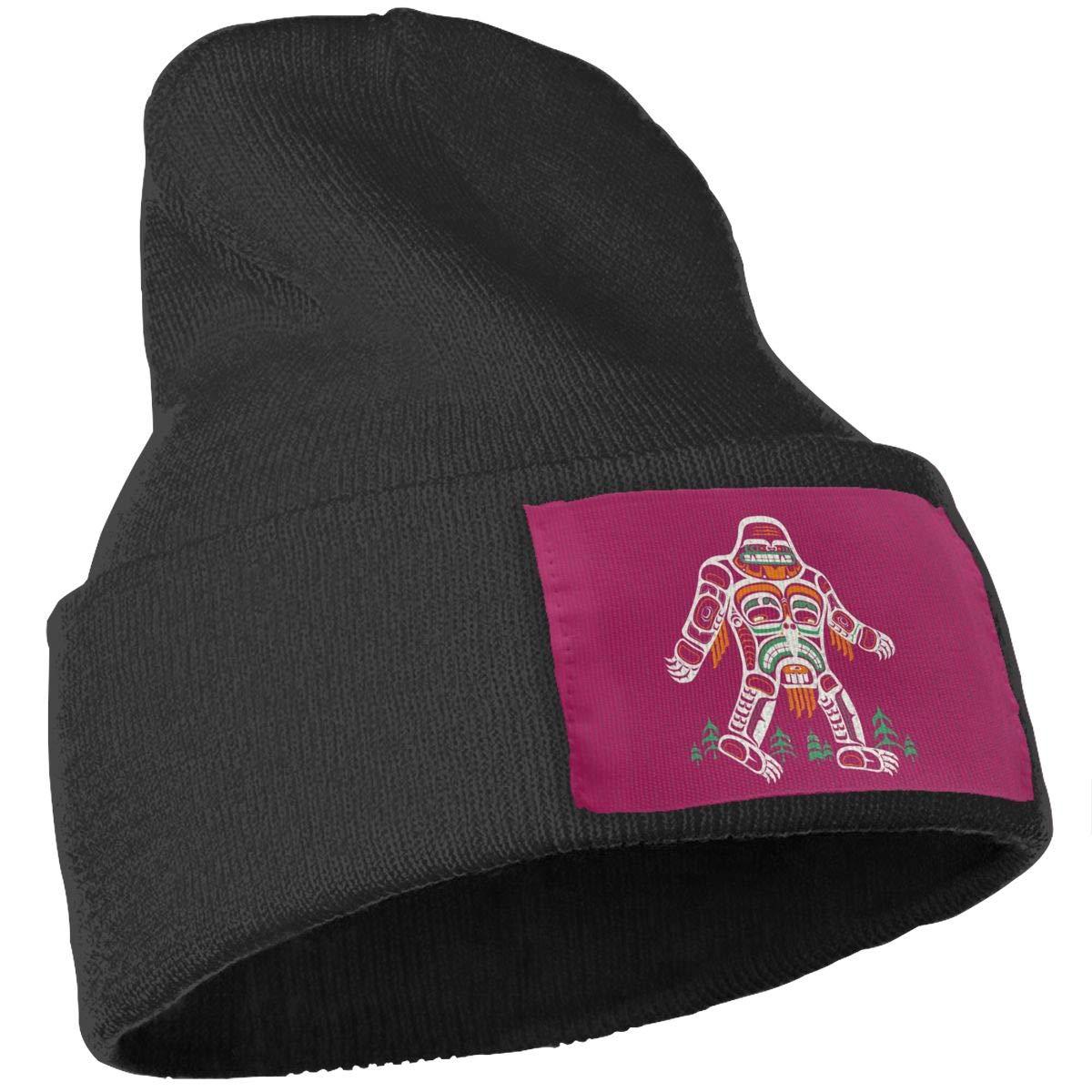 Poii Qon Tribal Bigfoot Beanies Hats Wool Knit Caps for Women Men