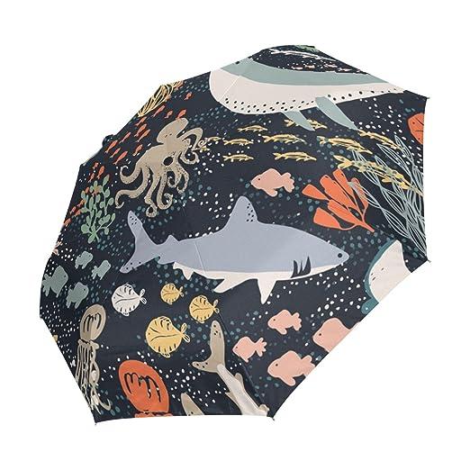 Amazon.com : LEVEIS Marine Fish Seaweed Coral Watermelon Automatic Foldable Travel Rain Umbrella : Sports & Outdoors
