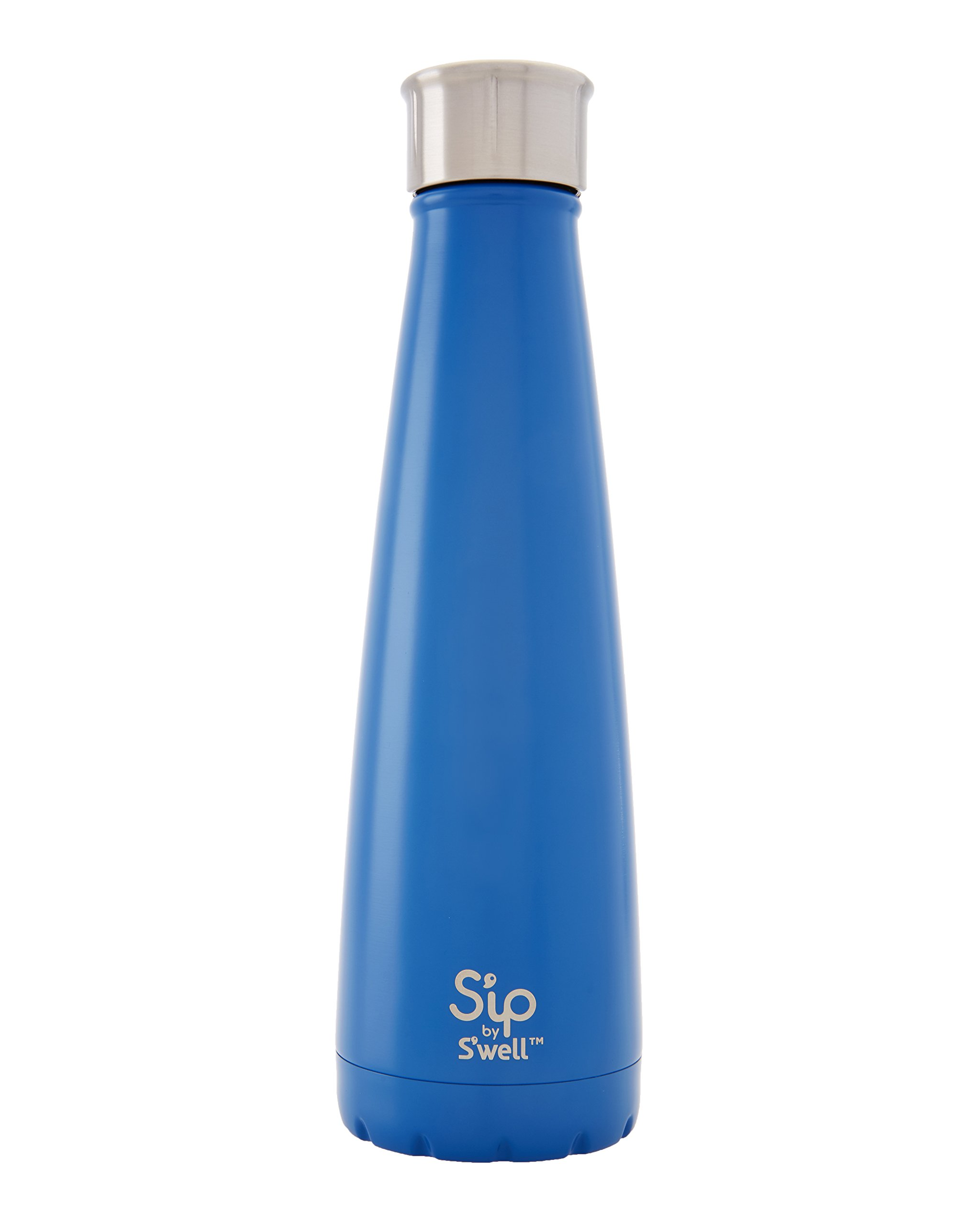 S'ip by S'well Vacuum Insulated Stainless Steel Water Bottle, Double Wall, 15 oz, Jersey Blue