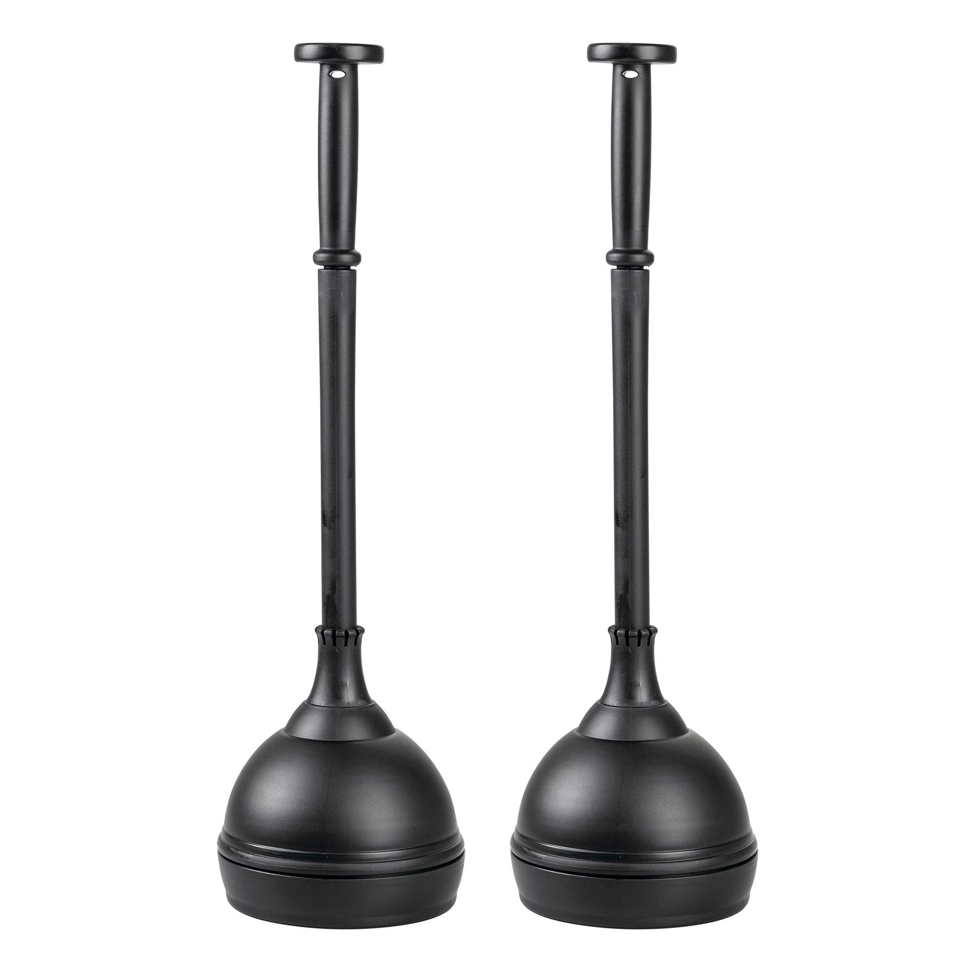 mDesign Bathroom Toilet Bowl Plunger Set with Lift & Lock Cover, Compact Discreet Freestanding Storage Caddy with Base, Sleek Modern Design - Pack of 2, Heavy Duty Rustproof Plastic, Black