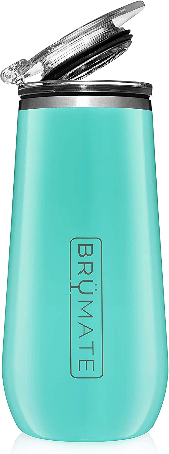 BrüMate 12oz Insulated Champagne Flute With Flip-Top Lid - Made With Vacuum Insulated Stainless Steel (Aqua)