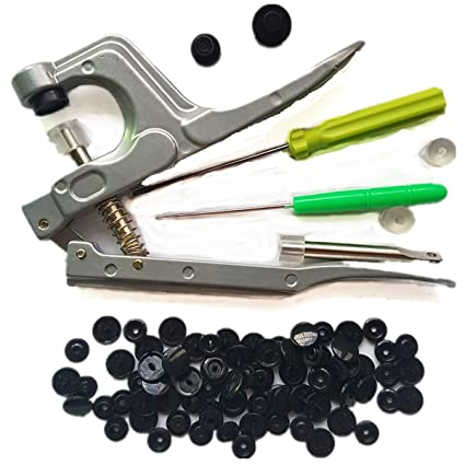 100 Complete Sets Black Snaps Plastic Snaps Hand-held Pliers Tool Installs  Size 20, 22, 24 T5 No-Sew Button Snap Fastener Press Attacher Punch for