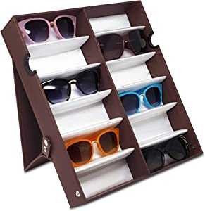 """Ikee Design Eyewear Storage Organizer - 12 Slots Sunglasses Box Display Case for Watches or Jewelry, Brown, 12 3/4""""W x 14 3/4""""D x 2 1/4""""H, Large Upright Full Covered"""