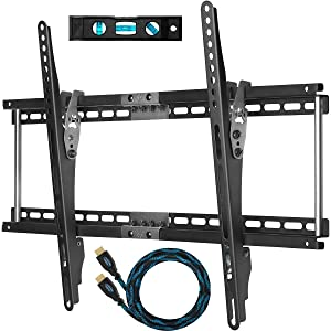 Cheetah Mounts APTMM2B TV Wall Mount for 20-75-Inch TVs Bundle with 10-feet Braided HDMI Cable and a 6-Inch 3-Axis Magnetic Bubble