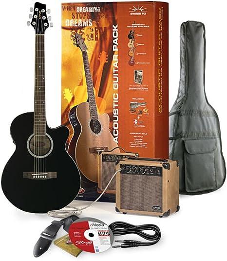 Stagg sw206 de BK P3 Guitarra electroacústica + Amplificador Pack: Amazon.es: Instrumentos musicales