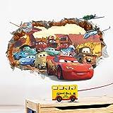 ufengke® 3D Pared Dañada Dibujos Animados Coches Aeronaves Pegatinas de Pared, Vivero Habitación de los Niños Removible Etiquetas de la Pared Murales
