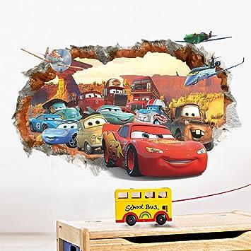 ufengke 3D Beschädigten Wand Karikatur Autos Flugzeuge Wandsticker,  Kinderzimmer Babyzimmer Entfernbare Wandtattoos Wandbilder