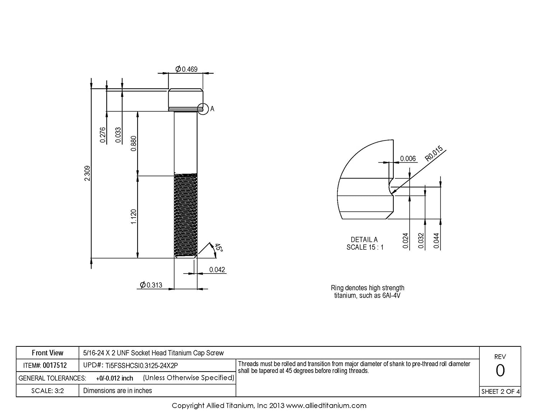 Inc Allied Titanium 0017512, 5//16-24 X 2 UNF Socket Head Cap Screw 609035001 Pack of 4 Grade 5 Ti-6Al-4V