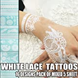 Bluezoo Henna Body Paints Tattoos Stickers Whitelace Tattoo for Girls,women Necklace,bracelets Patterns (Pack of Mixed 5 Random Sheets)