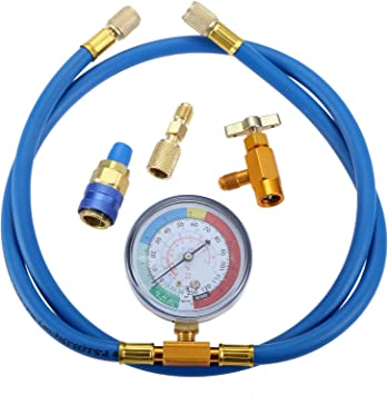 R134A Car AC Refrigerant Charge Hose Kit for R134A R12 or R22 refrigerant Ac Charge Kit R134A Low Side Adapter R134a Charging 59 Hose with Gauge and R134A Can Tap Valve