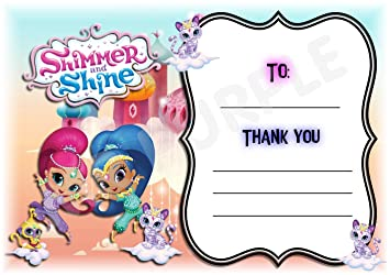 Shimmer And Shine Thank You For Coming Birthday Party Cards